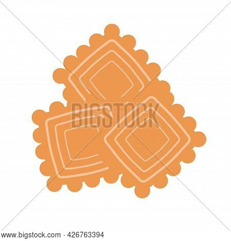 Square Biscuit Cookies On An Isolated Background. Appetizer Or Dessert. Flat Design Element. Unhealt