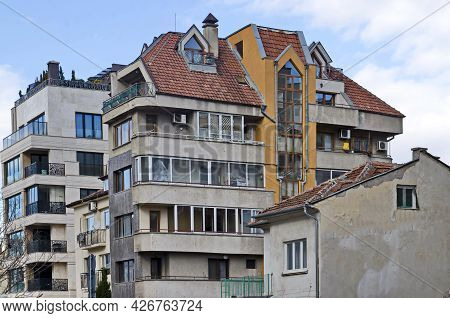 Sofia, Bulgaria - January 24, 2021: A Residential Neighborhood With  Old And New Modern Contemporary