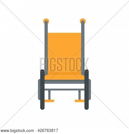 Front View Wheelchair Icon. Flat Illustration Of Front View Wheelchair Vector Icon Isolated On White