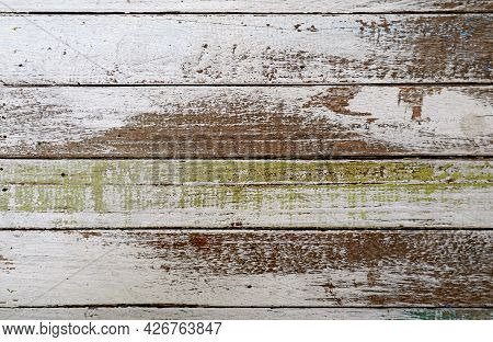 Texture Of Horizontal Pattern Of Grunge Painted Wood Plank For Abstract Backdrop