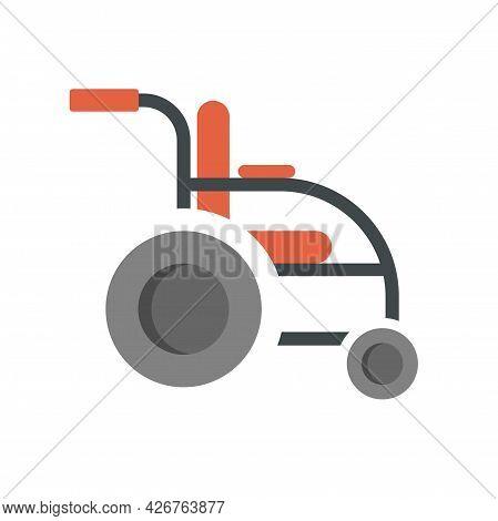 Invalid Wheelchair Icon. Flat Illustration Of Invalid Wheelchair Vector Icon Isolated On White Backg