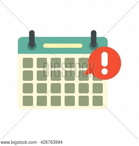 Calendar Notification Icon. Flat Illustration Of Calendar Notification Vector Icon Isolated On White
