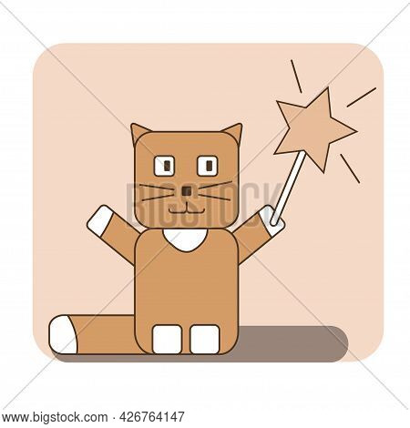 Cute Wizard Cat With Magic Wand In Creamy Colors Stylized With Rounded Rectangles Avatar, Icon, Cove
