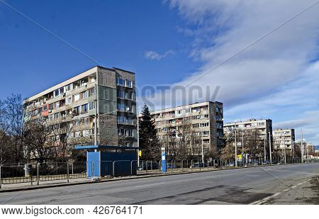 Sofia, Bulgaria - January 24, 2021: Fragment Of Urban Infrastructure With Route, Tram Station And St