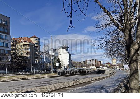 Sofia, Bulgaria - January 24, 2021: Fragment Of Urban Infrastructure With Tram Route, Subway And Str
