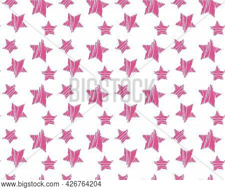 Seamless Pattern With Hand Drawn Marker Pink Stars, Kids Textile, Cover, Background, Childish Fabric
