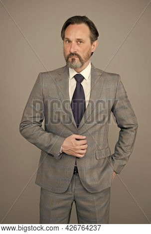 Giving Man Confidence. Bearded Man Grey Background. Mature Man In Formal Style. Fashion Look Of Busi