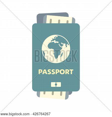 Passport With Ticket Icon. Flat Illustration Of Passport With Ticket Vector Icon Isolated On White B