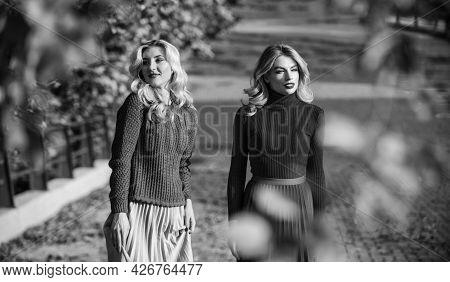 Autumn Season. Fall Fashion Season. Pleated Trend. Girls In Corrugated Skirt And Sweater. Female Bea