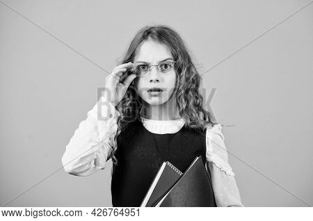 Formal Education And Homeschooling. Check Knowledge. Final Exam Coming. Girl Hold Textbook Folder Te