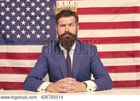 Fourth Of July United States Independence Day. Statue Of Liberty. Bearded Man Usa Parliament Represe