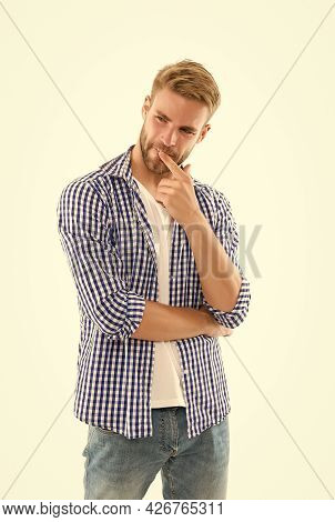 Perfect Male. Handsome Young Man Wear Checkered Shirt. Casual Male Fashion Style. Unshaven Guy Has G