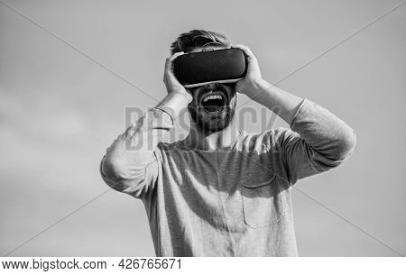 I Am A Winner. Man Sky Background Vr Glasses. Create Own Business. Play Virtual Game. Male Reality I