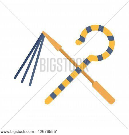 Egypt Pharaoh Tools Icon. Flat Illustration Of Egypt Pharaoh Tools Vector Icon Isolated On White Bac