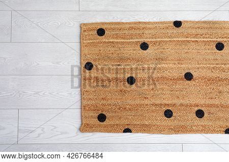 Stylish Rug With Dots On Floor, Top View