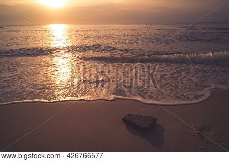Soft Blue Waves On The Beach At The Summer Time. Sea Beach Blue Sky Sand Sun Daylight Relaxation Lan