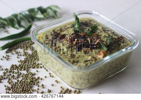 Green Gram Curry. Boiled Green Gram Cooked In A Paste Of Grated Coconuts, Shallots And Green Chilies