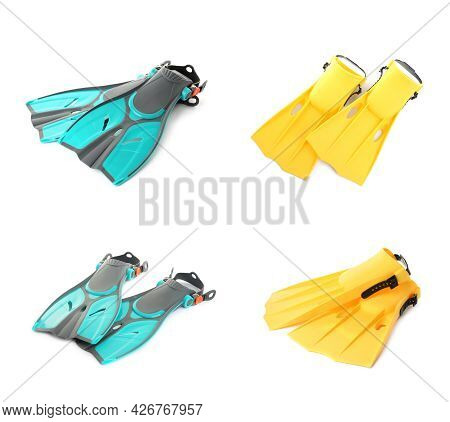 Set With Different Flippers On White Background