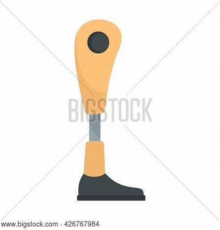 Modern Leg Prosthesis Icon. Flat Illustration Of Modern Leg Prosthesis Vector Icon Isolated On White