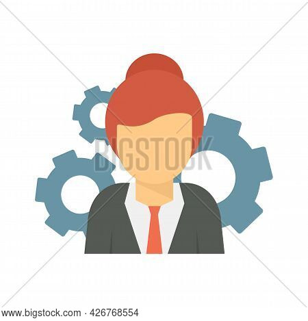 Woman Managing Skills Icon. Flat Illustration Of Woman Managing Skills Vector Icon Isolated On White