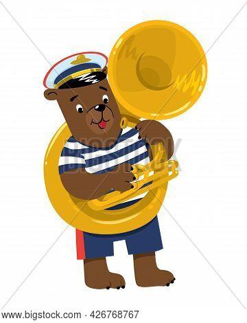 Bear Plays Sousaphone Or Tuba. Brass Band