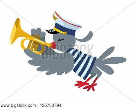 Bird Play Trumpet. Brass Band Of Animals.