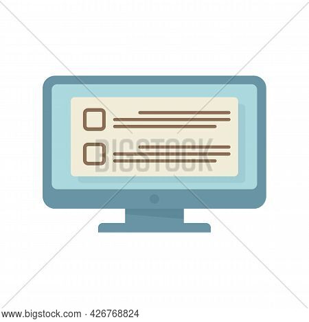 Online Computer Task Icon. Flat Illustration Of Online Computer Task Vector Icon Isolated On White B