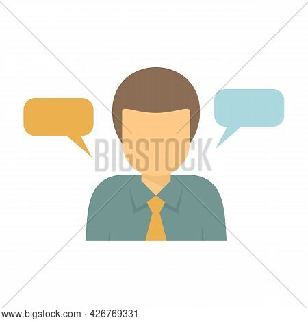 Office Worker Thinking Icon. Flat Illustration Of Office Worker Thinking Vector Icon Isolated On Whi