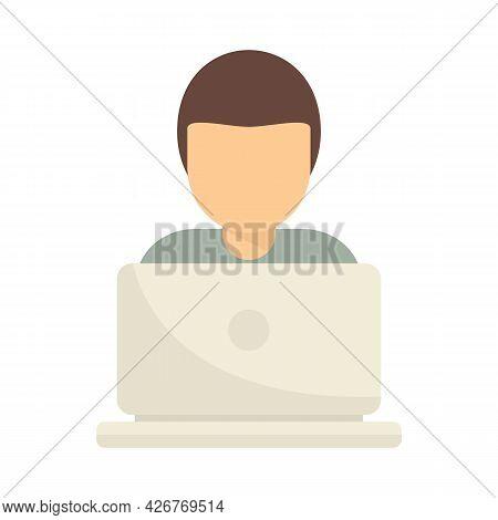 Freelancer On Laptop Icon. Flat Illustration Of Freelancer On Laptop Vector Icon Isolated On White B