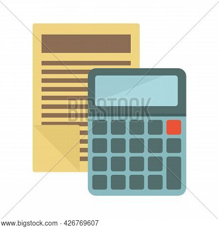 Papers Calculator Icon. Flat Illustration Of Papers Calculator Vector Icon Isolated On White Backgro