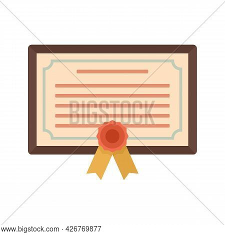 Wall Diploma Icon. Flat Illustration Of Wall Diploma Vector Icon Isolated On White Background