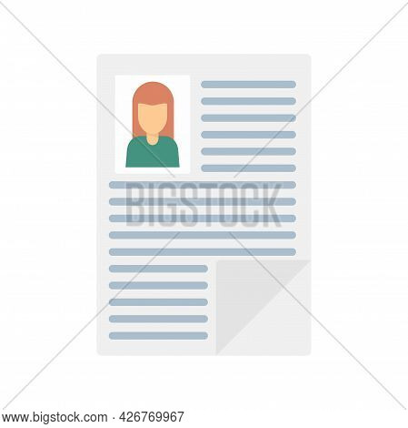 Woman Cv Paper Icon. Flat Illustration Of Woman Cv Paper Vector Icon Isolated On White Background