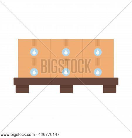 Pallet Milk Box Icon. Flat Illustration Of Pallet Milk Box Vector Icon Isolated On White Background