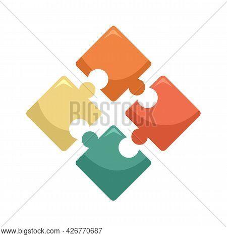 Jigsaw Icon. Flat Illustration Of Jigsaw Vector Icon Isolated On White Background