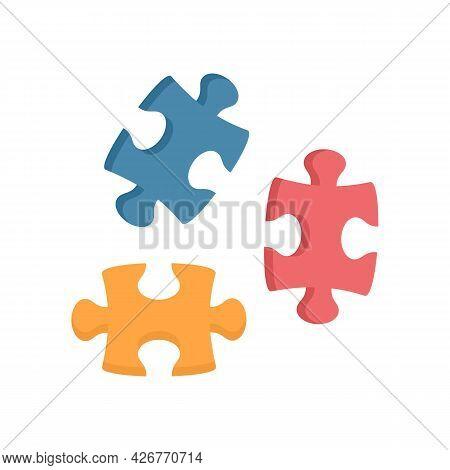 Puzzle Icon. Flat Illustration Of Puzzle Vector Icon Isolated On White Background