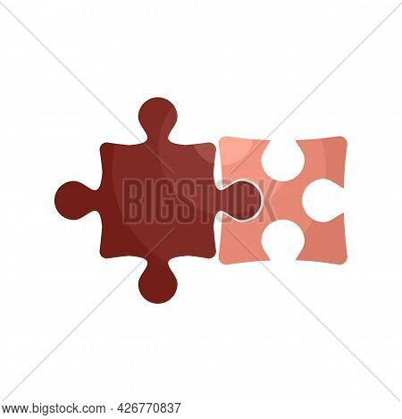 Jigsaw Pieces Icon. Flat Illustration Of Jigsaw Pieces Vector Icon Isolated On White Background