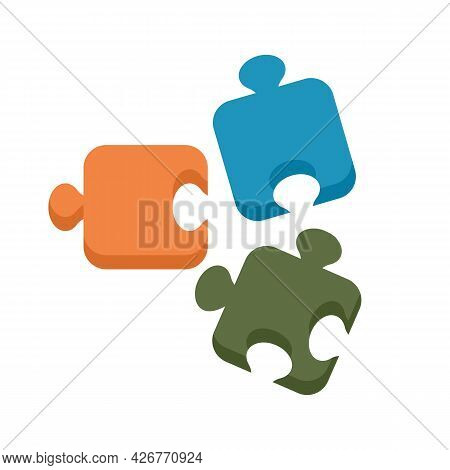 Step Puzzle Icon. Flat Illustration Of Step Puzzle Vector Icon Isolated On White Background