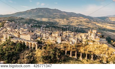 Aerial View Of Medieval Stone Village,the Highest Village In Madonie Mountain Range,sicily,italy.chu
