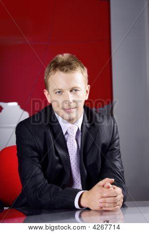 Businessman In Television Studio