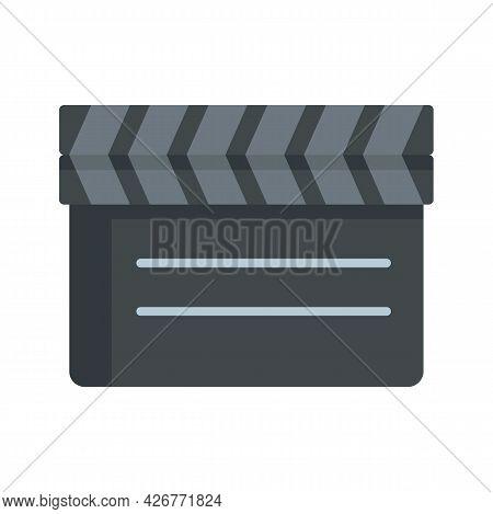 Closed Film Clapper Icon. Flat Illustration Of Closed Film Clapper Vector Icon Isolated On White Bac