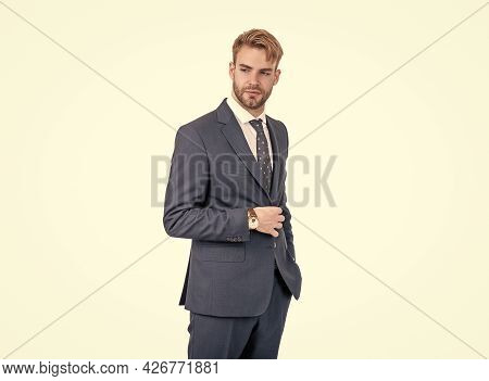 Handsome Clerical Worker Wear Formal Suit And Tie Formalwear Isolated On White, Classic