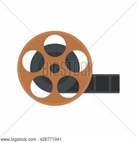 Cinema Reel Icon. Flat Illustration Of Cinema Reel Vector Icon Isolated On White Background