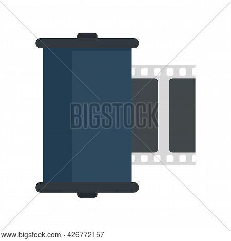Retro Camera Film Icon. Flat Illustration Of Retro Camera Film Vector Icon Isolated On White Backgro