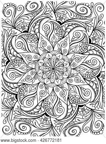 Ornamental Mandala Adult Coloring Book Page. Zentangle Style Coloring Page. Mandala Black Outline.