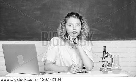 University Student Or School Teacher. Back To School. School Laboratory. Scientific Research. Study