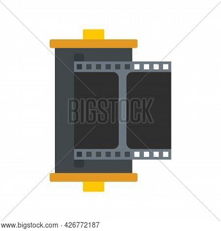 Color Camera Film Icon. Flat Illustration Of Color Camera Film Vector Icon Isolated On White Backgro