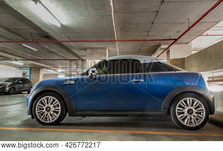 Bangkok, Thailand - 30 Jun 2021 : Side View Of Blue Mini Cooper Parked In The Parking Lot. Selective