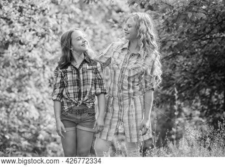 Happy Childhood. Hug And Love Concept. Kids Happy Together Nature Background. True Friendship. Girls