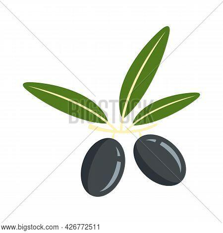 Black Greek Olive Icon. Flat Illustration Of Black Greek Olive Vector Icon Isolated On White Backgro