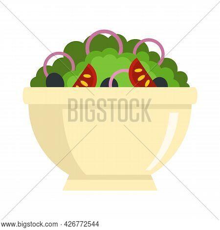 Greek Salad Bowl Icon. Flat Illustration Of Greek Salad Bowl Vector Icon Isolated On White Backgroun